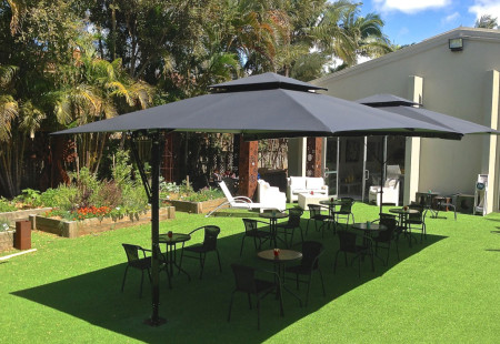 2X Square Commercial Cafe Umbrellas, Black/BLack, Join with Gutter
