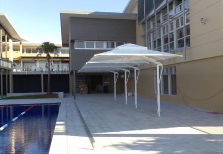 4x Square Commercial Umbrellas, White/White