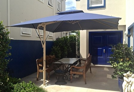 Square 4m Patio Umbrella, Beige/Navy blue