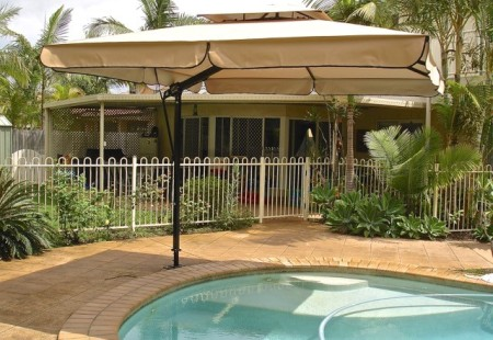 Square 3m Pool Umbrella with Valance, Black/Beige