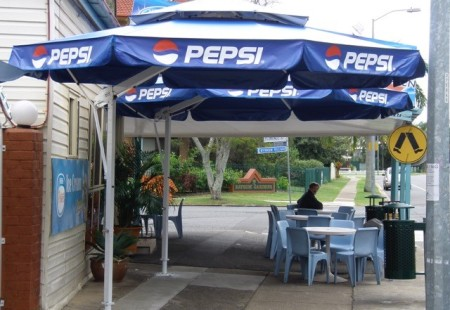 2x Octagonal 4m, White/Royal blue with Valance and logo print