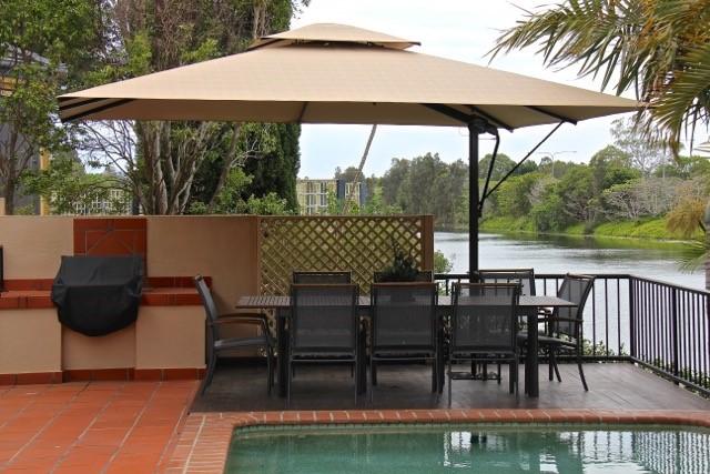 Rectangular 4.5m x 3.5m, Black/Beige - Patio Umbrellas For The Deck Or Garden Outdoor Cantilever Umbrellas