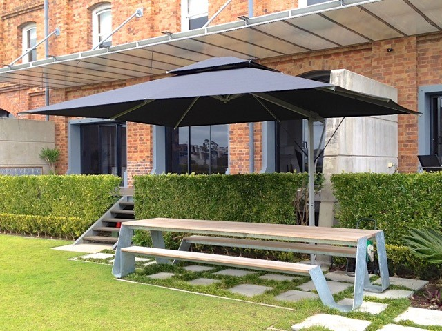 Rectangular 4.5m x 3.5m Silver/Black & Patio Umbrellas - Great for Deck u0026 Garden | Tropicover