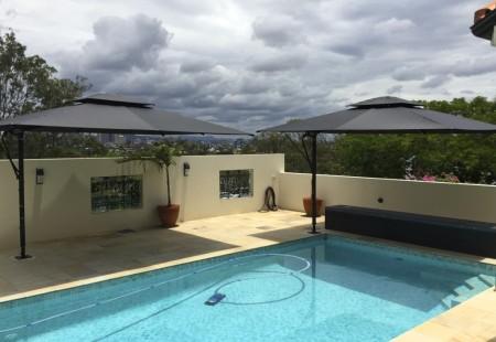 2x Rectangular rooftop Umbrellas, Black/Black